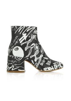 Maison Margiela Mm6 Maison Martin Margiela Black Crackled Graffiti Printed Leather Heel Boots