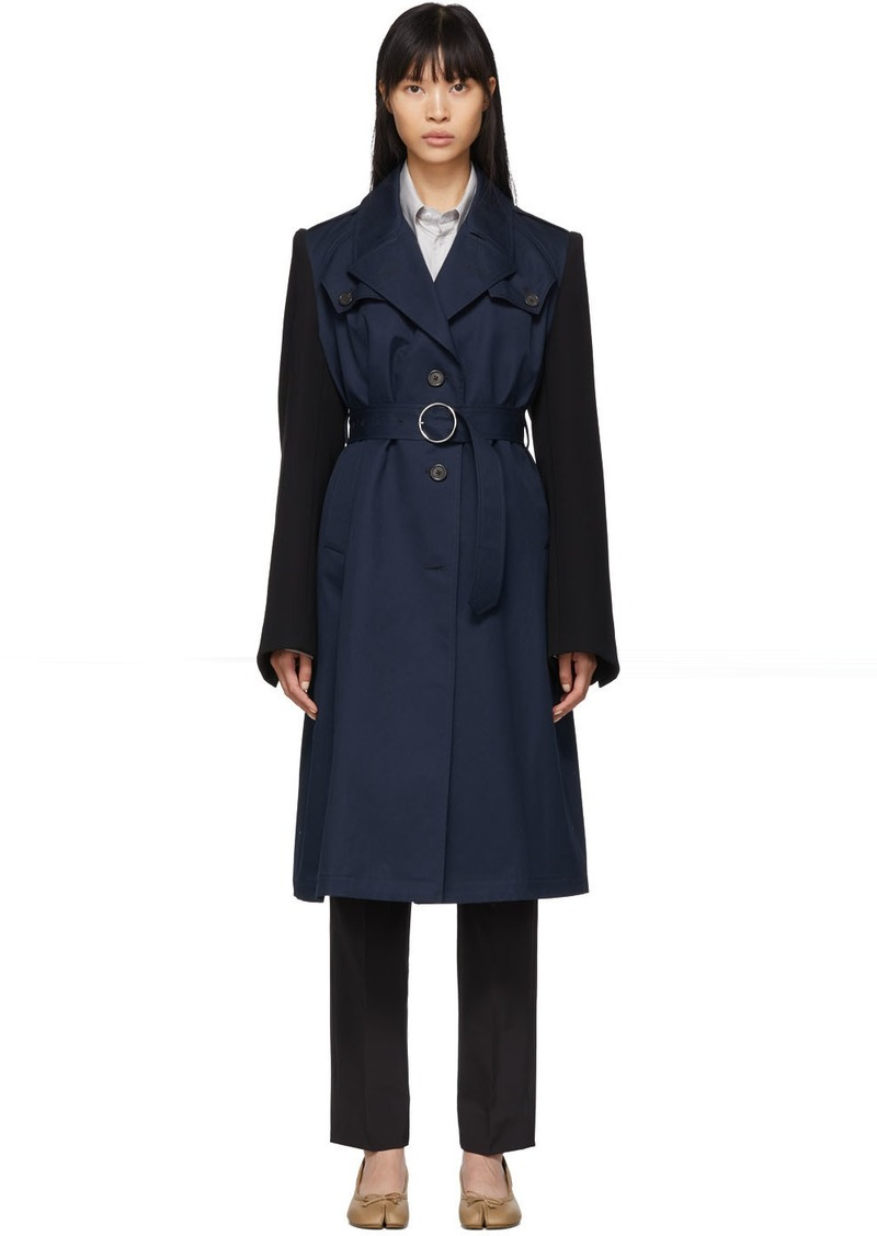 Maison Margiela Navy & Black Cotton Twill Trench Coat