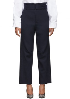 Maison Margiela Navy Belted Paperbag Trousers