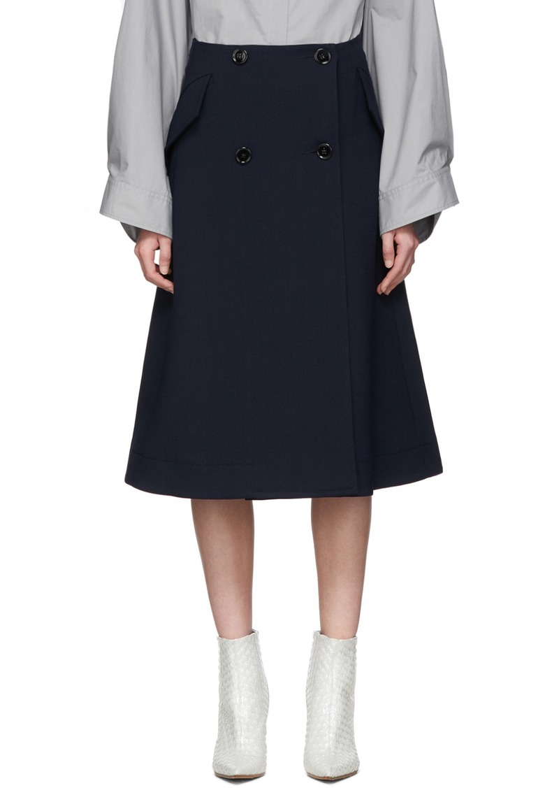 Maison Margiela Navy Double-Button A-Line Skirt