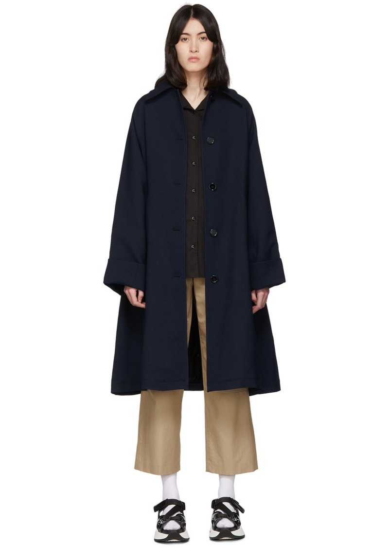 Maison Margiela Navy Wool Trench Coat