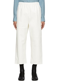 Maison Margiela Off-White Leather Straight Trousers