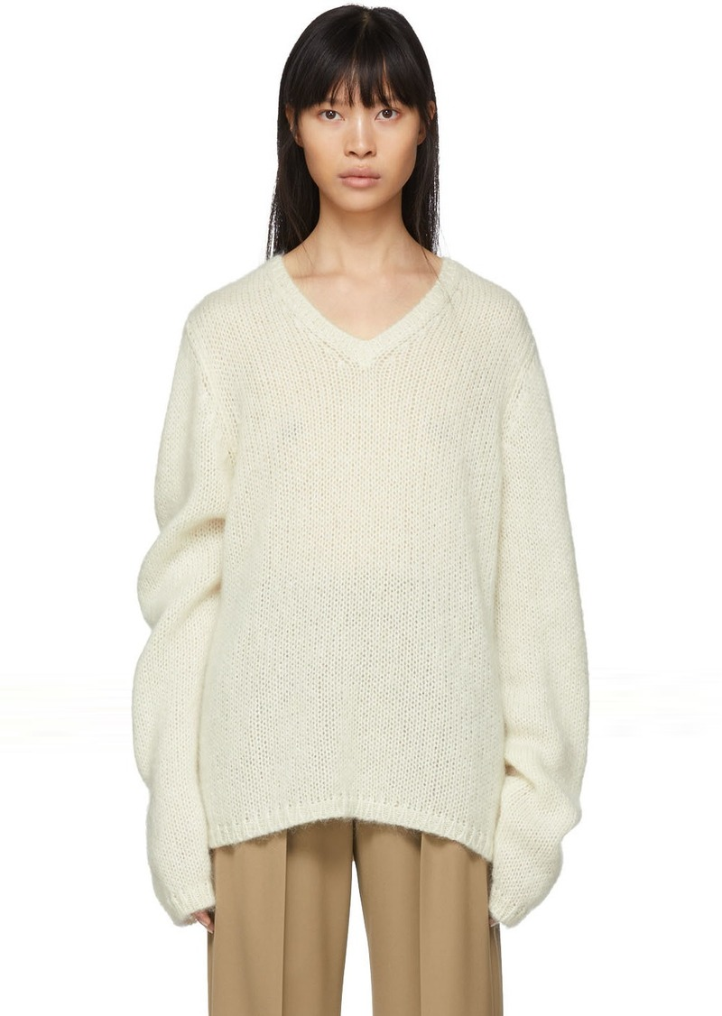 Maison Margiela Off-White Mohair Gauge 3 V-Neck Sweater