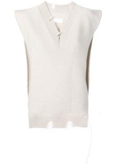 Maison Margiela off white sleeveless sweater
