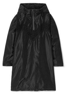Maison Margiela Oversized Hooded Lace-trimmed Silk-taffeta Mini Dress