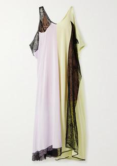 Maison Margiela Oversized Lace-paneled Jersey Maxi Dress