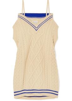 Maison Margiela Oversized Off-the-shoulder Cable-knit Wool-blend Midi Dress