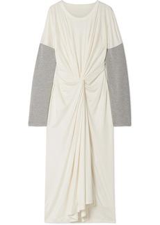 Maison Margiela Oversized Twist-front Jersey-trimmed Stretch-knit Maxi Dress