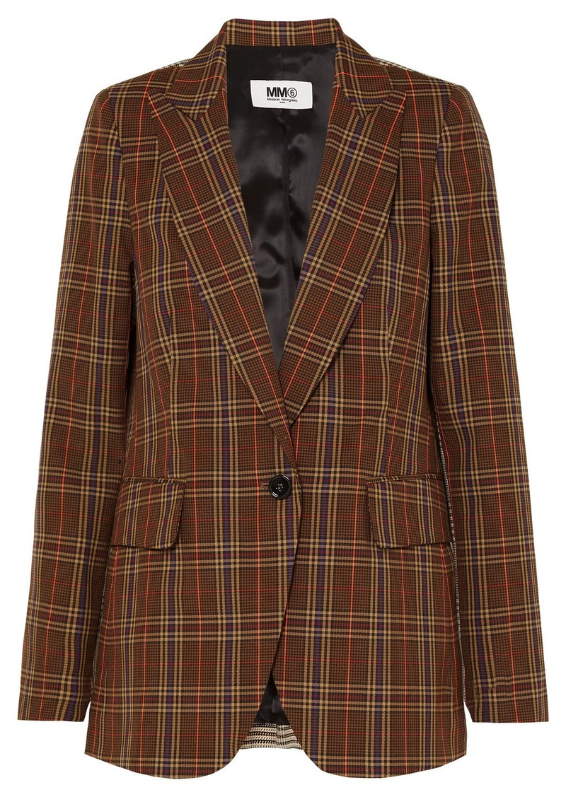 Maison Margiela Paneled Checked Jacquard Blazer