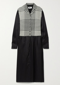 Maison Margiela Paneled Checked Wool-blend And Satin Midi Dress