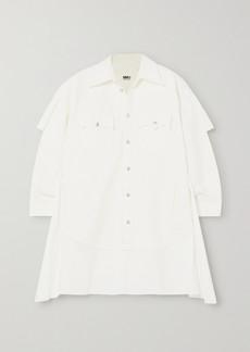 Maison Margiela Paneled Denim And Cotton-poplin Shirt Dress