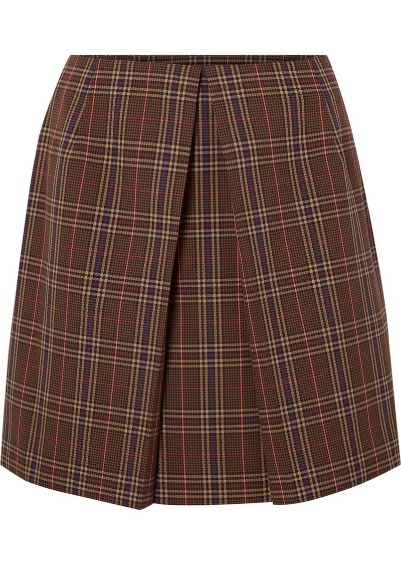 Maison Margiela Pleated Checked Woven Mini Skirt