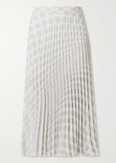 Maison Margiela Pleated Polka-dot Crepe Midi Skirt