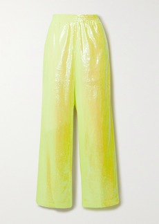 Maison Margiela Sequined Mesh Wide-leg Pants