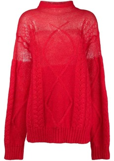 Maison Margiela sheer cable knit sweater