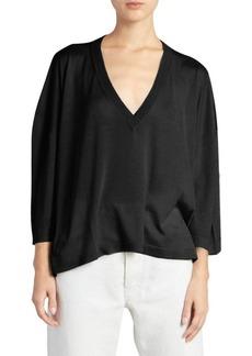 Maison Margiela Silk V-Neck Knit Pullover
