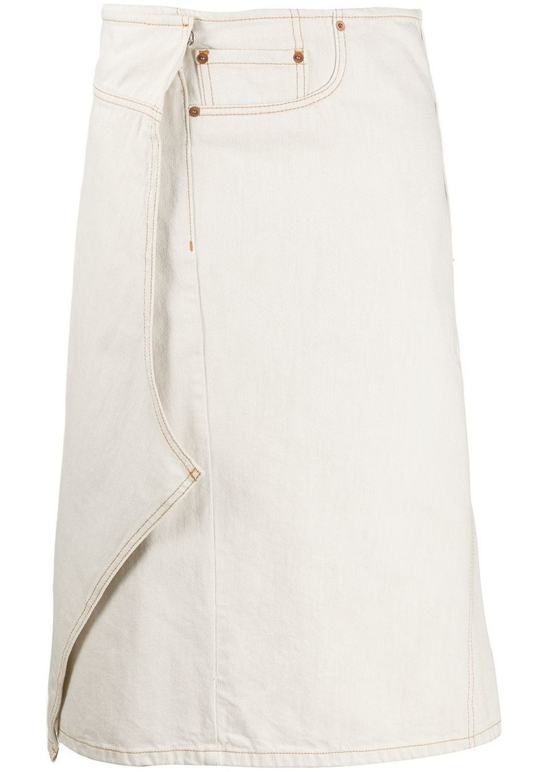Maison Margiela asymmetric wrap denim skirt