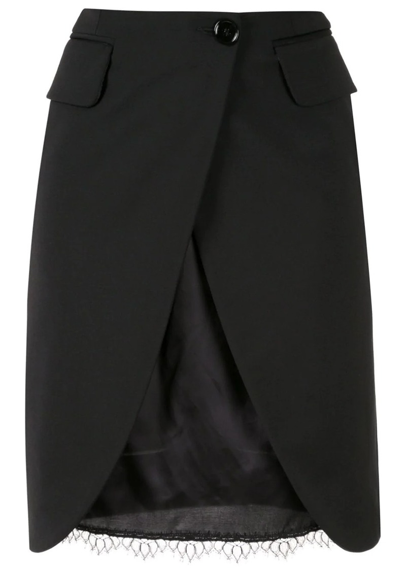Maison Margiela split-front double-layer skirt