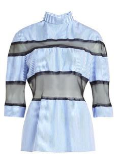 Maison Margiela Striped Cotton Blouse with Silk Chiffon Inserts