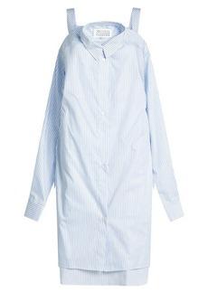 Maison Margiela Striped Cotton Shirt Dress with Cut-Out Shoulders