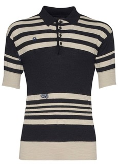 Maison Margiela Striped Knit Polo Shirt