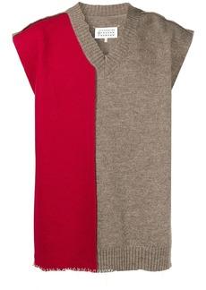 Maison Margiela V-neck contrast-panel scarf