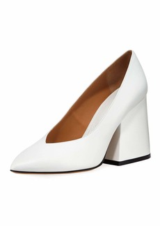 Maison Margiela V-Neck Pointed Block-Heel Pumps