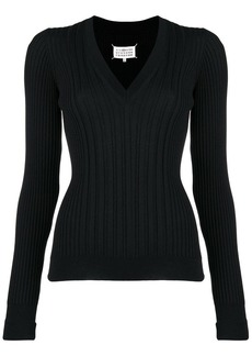 Maison Margiela V-neck rib knit sweater