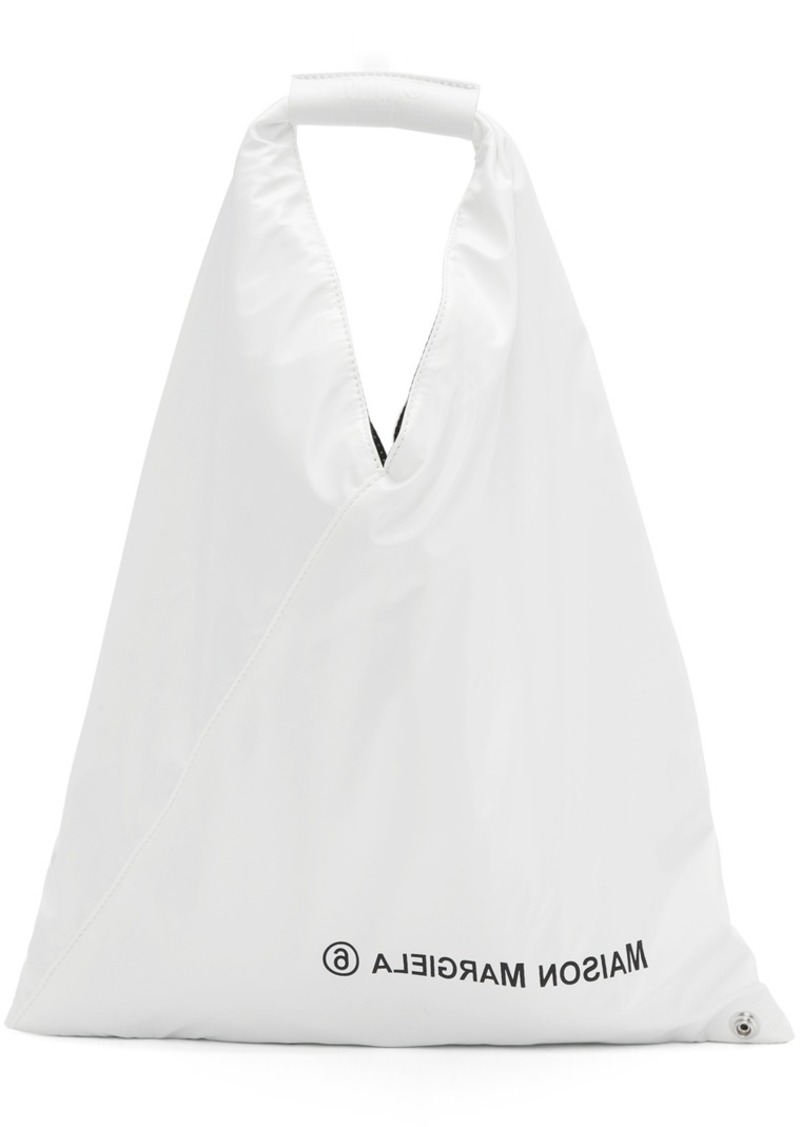 Maison Margiela White Small Faux-Leather Triangle Tote