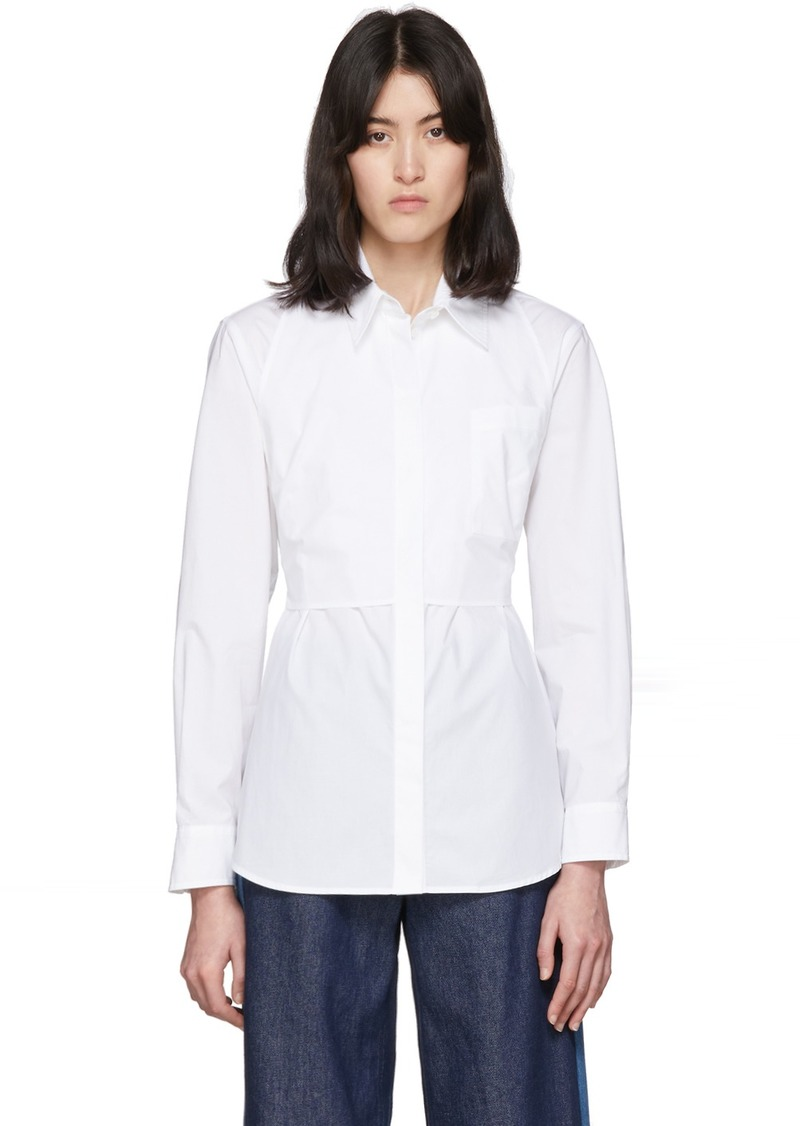 Maison Margiela White Waist Cinching Bib Shirt