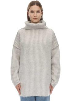 Maison Margiela Wide Collar Mohair Blend Knit Sweater