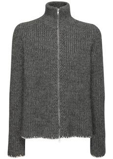 Maison Margiela Wool Blend Turtleneck Zip Sweater
