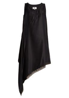 MM6 Maison Margiela Asymmetric-hem sandwashed-satin dress