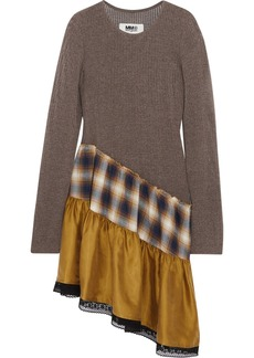 Asymmetric lace-trimmed open-knit, plaid cotton and washed-satin dress