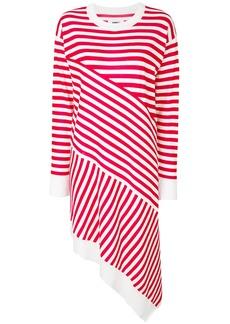 Mm6 Maison Margiela asymmetric striped dress - White