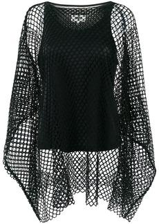 Maison Martin Margiela Mm6 Maison Margiela fish net layered blouse - Black