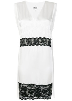 Mm6 Maison Margiela lace trim dress - White