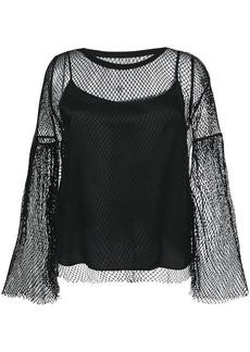 Maison Martin Margiela Mm6 Maison Margiela mesh layered blouse - Black