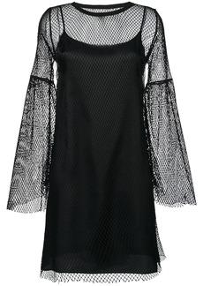 Mm6 Maison Margiela mesh layered flared dress - Black