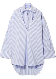 Maison Margiela Oversized Convertible Striped Cotton-poplin Dress