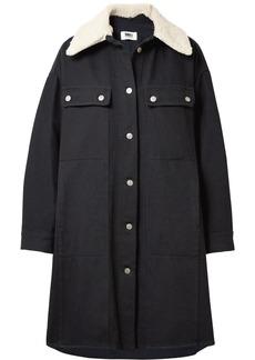 Maison Margiela Oversized faux shearling-trimmed cotton-blend drill coat
