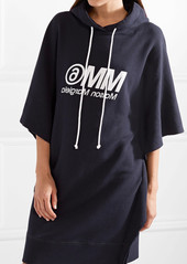 Oversized Hooded Printed Cotton-terry Mini Dress - Midnight blue Maison Martin Margiela qyu54