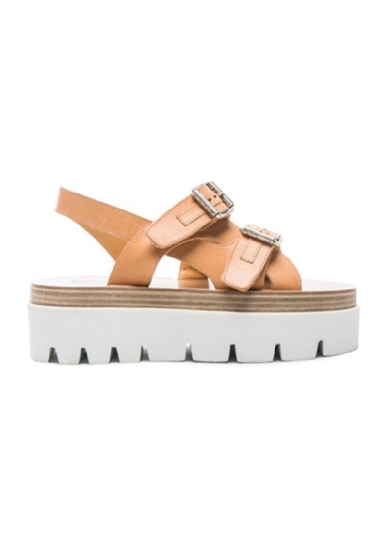 MM6 Maison Margiela Platform Buckled Leather Sandals