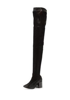 MM6 Maison Martin Margiela Mesh Chunky-Heel Over-The-Knee Boot