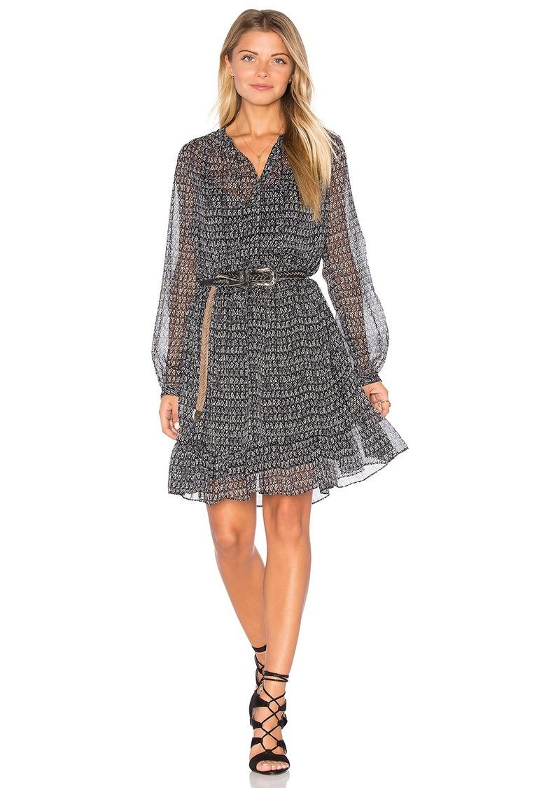 Maison Scotch Sheer Long Sleeve Midi Dress