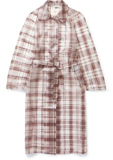 Maje Belted Checked Rubberized Pu Trench Coat
