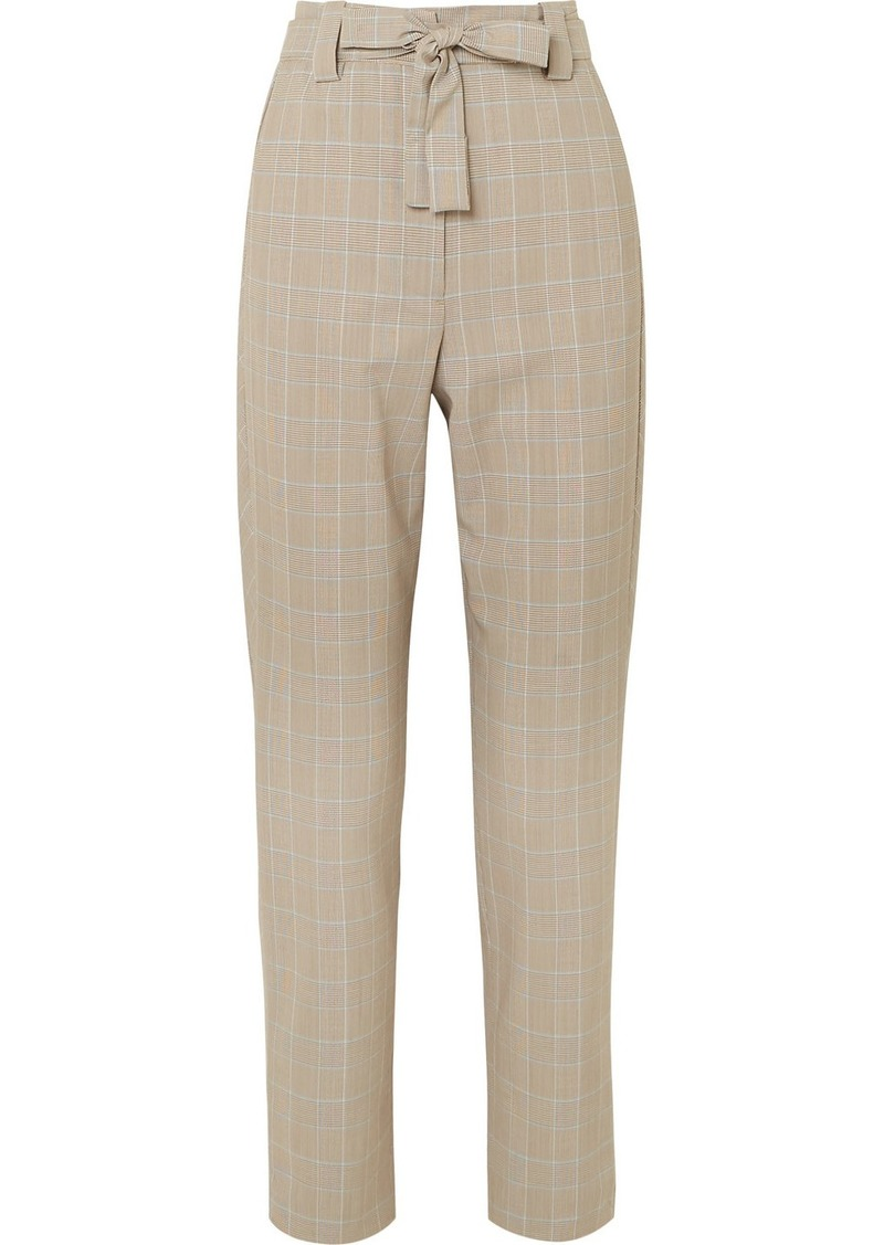Maje Belted Checked Woven Tapered Pants