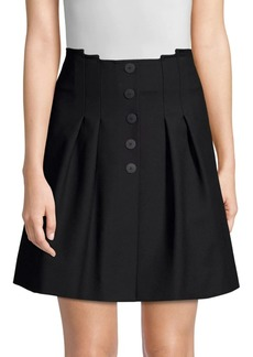 Maje Button Front Pleated Mini Skirt