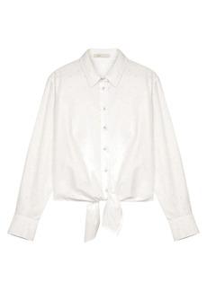 Maje Chalise Tie-Front Polka Dot Shirt