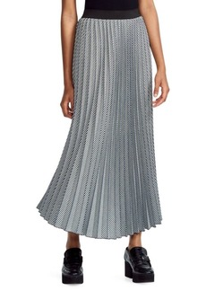 Maje Check-Print Pleated Midi Skirt